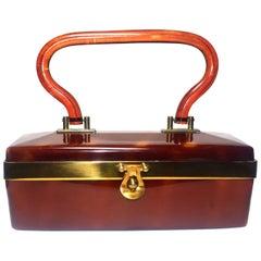Art Deco Lucite Box Bag in Deep Caramel Coloring