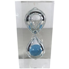 Modernist Lucite Hourglass Sculpture with Ice Blue Sand, Franco Scuderi