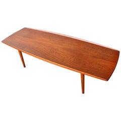 Danish Teak and Oak Surfboard Coffee Table Flared Edges by Trioh, 1960s