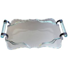 Art Deco, 1930s French Mirror and Chrome Drinks Tray