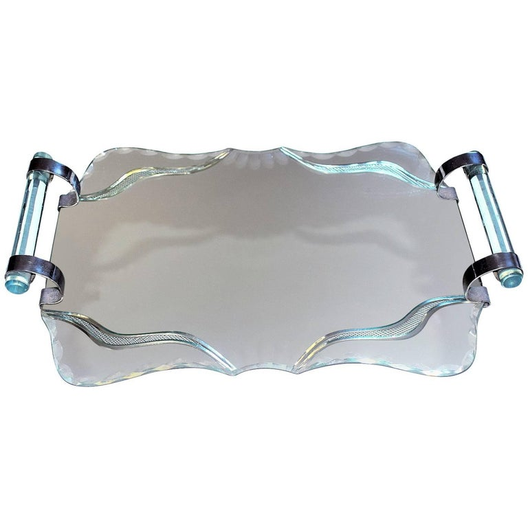 Art Deco, 1930s French Mirror and Chrome Drinks Tray For Sale