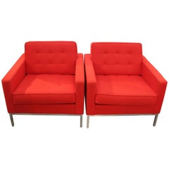 Pair of Florence Knoll Chairs in Cato Fire Red with Label Dated 2014