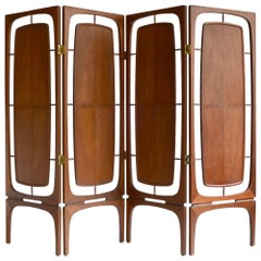 Midcentury Walnut Folding Screen Room Divider