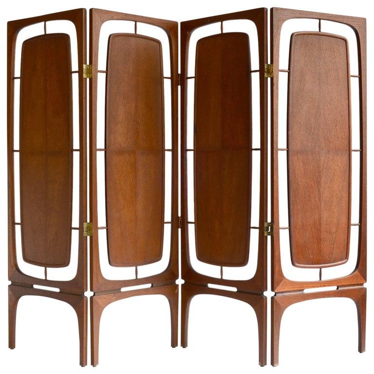 Midcentury Walnut Folding Screen Room Divider