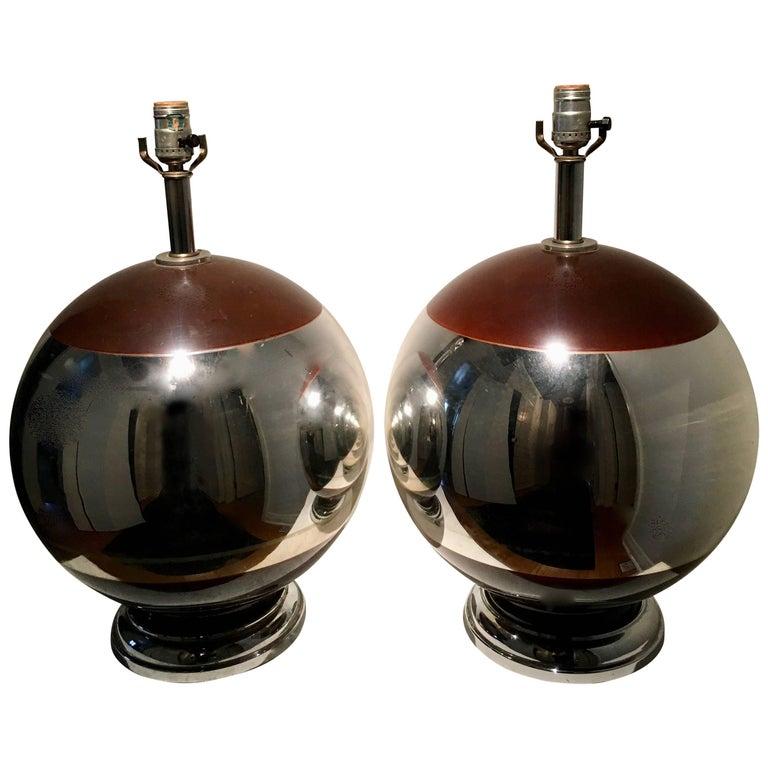 Pair of Spherical Mercury Lamps with Brown Detailing