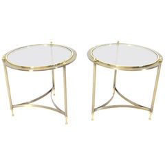 Pair of Round Side End Tables with Glass Tops by DIA