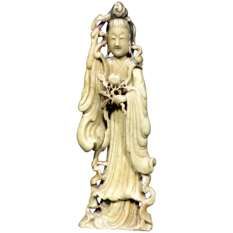 Carved Yellow Soapstone Figure of Guanyin, Chinese Circa 1900