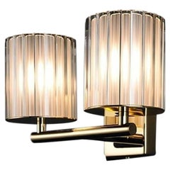 Flute Double Wall Light in Polished Gold with Frosted Glass