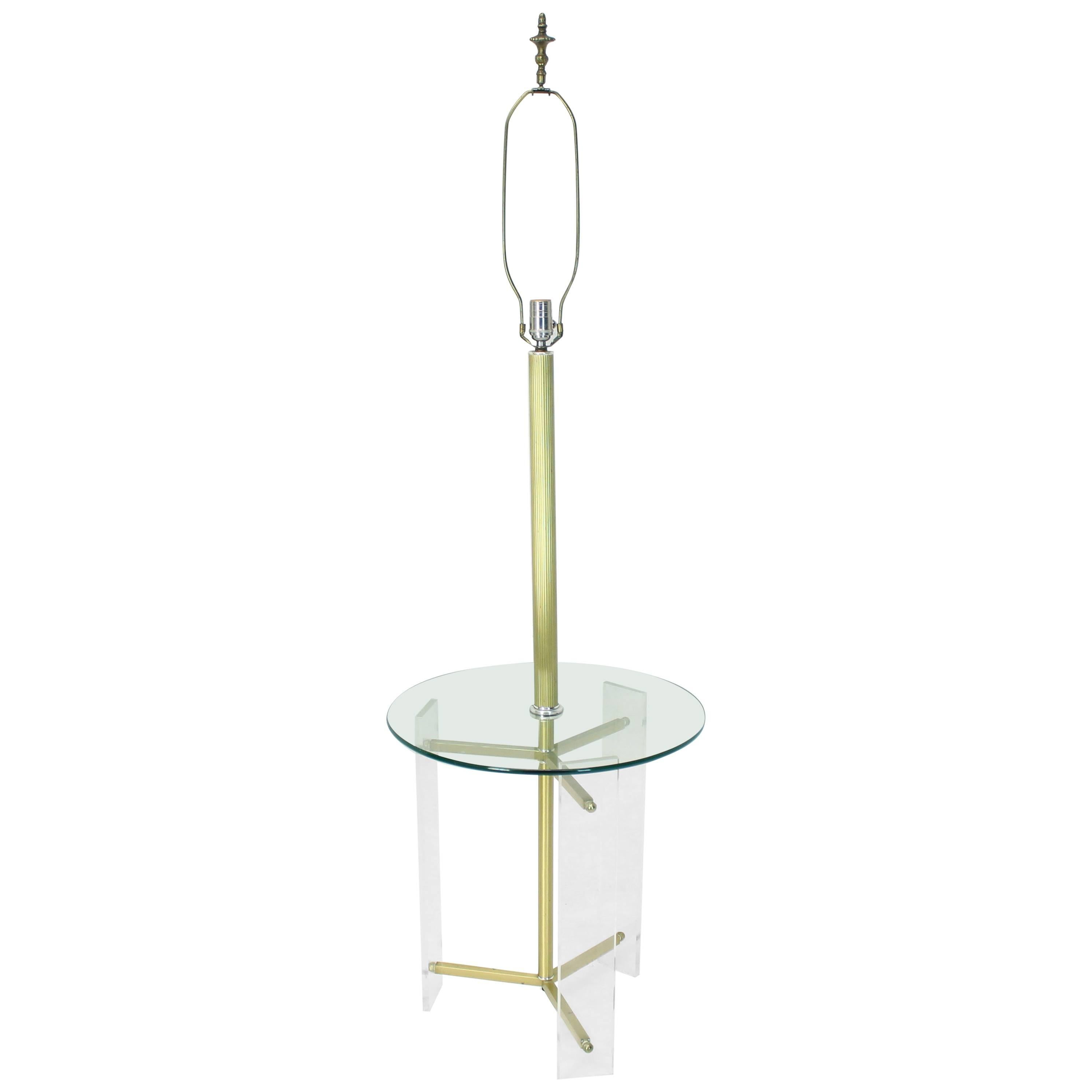 Brass and Lucite Tripod Leg Floor Lamp Glass Side Table