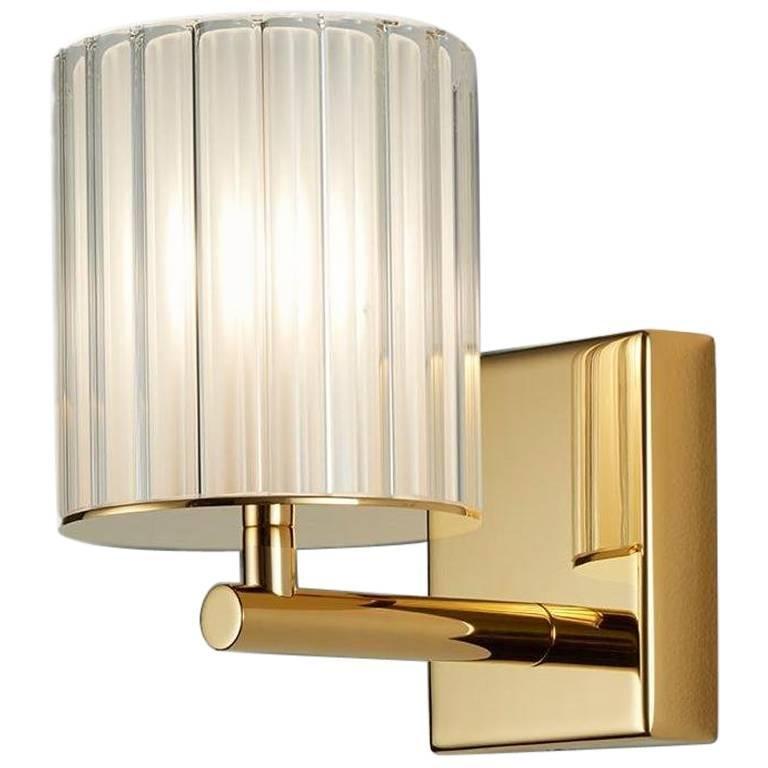 Flute Single Brass Sconce, Contemporary Light