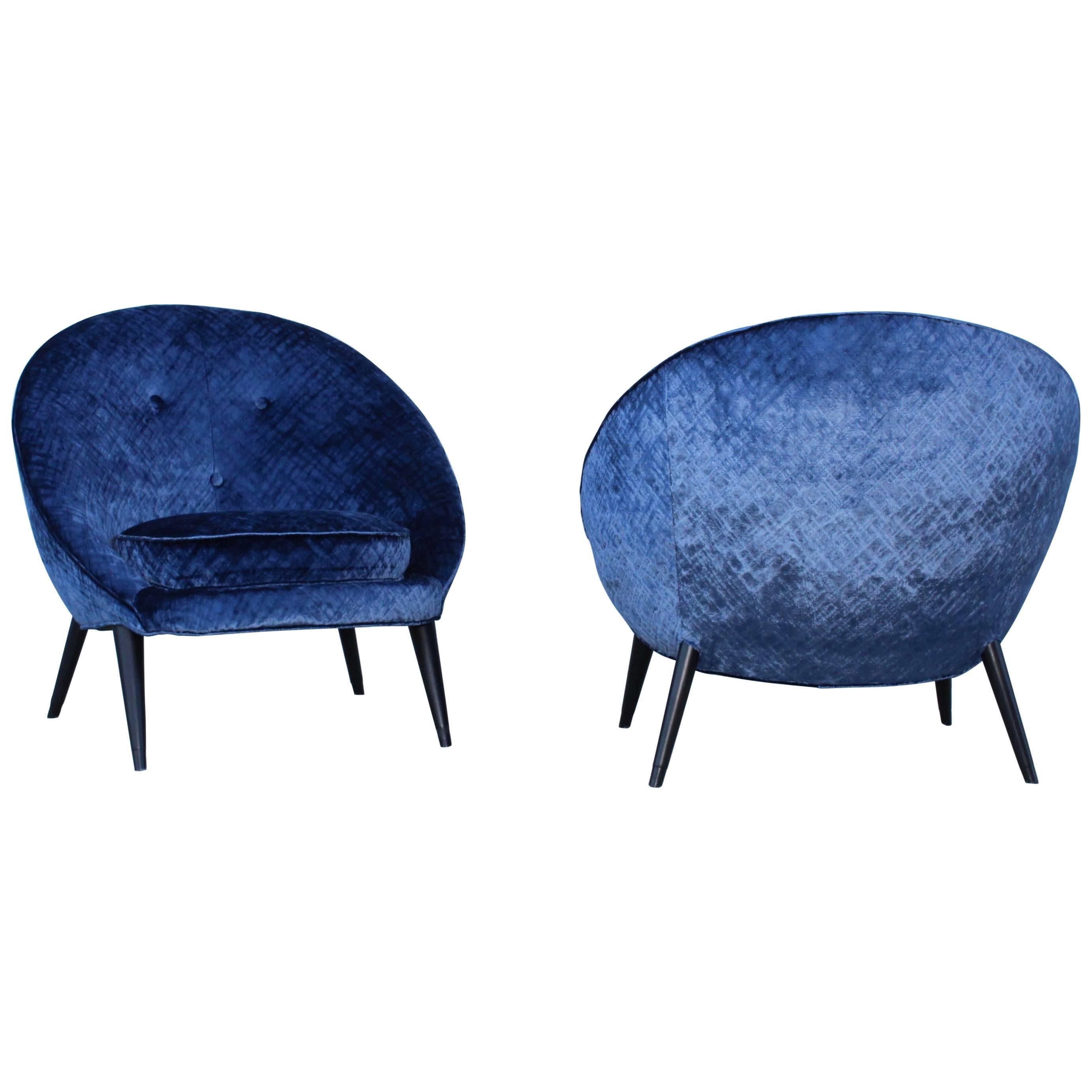 1960s Jean Royère Style Lounge Chairs