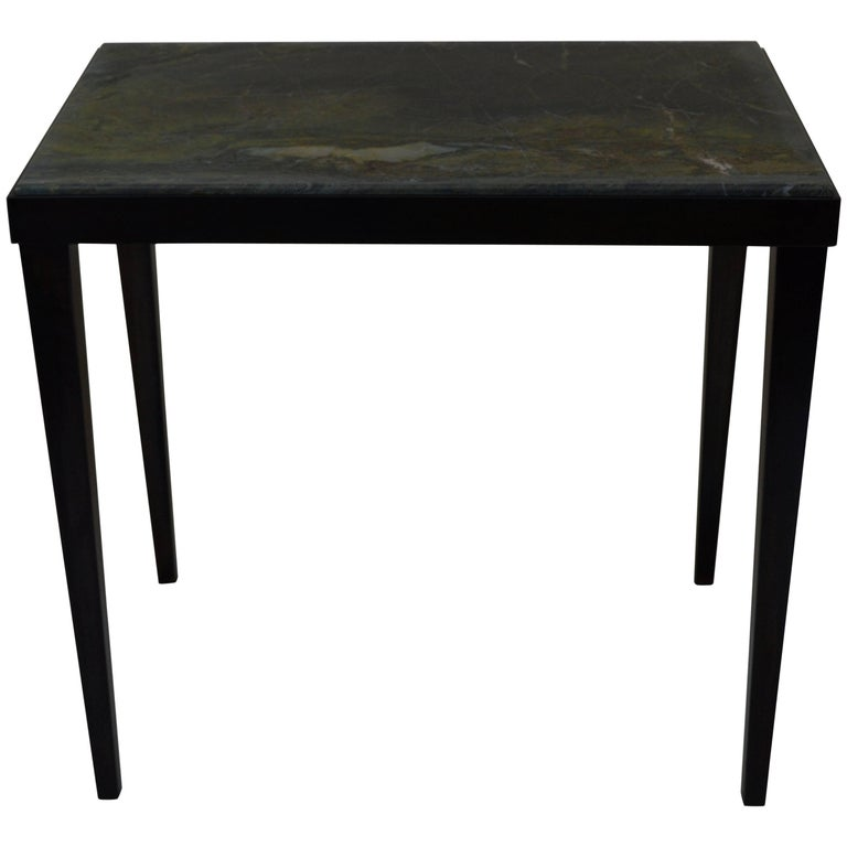 Contemporary Minimalist Blackened Steel and Marble Side Table by Scott Gordon