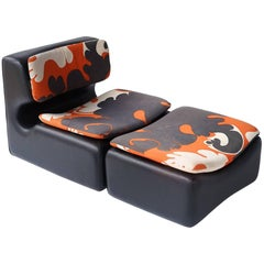 Space Age Scandinavian Lounge Chair and Ottoman by Overman