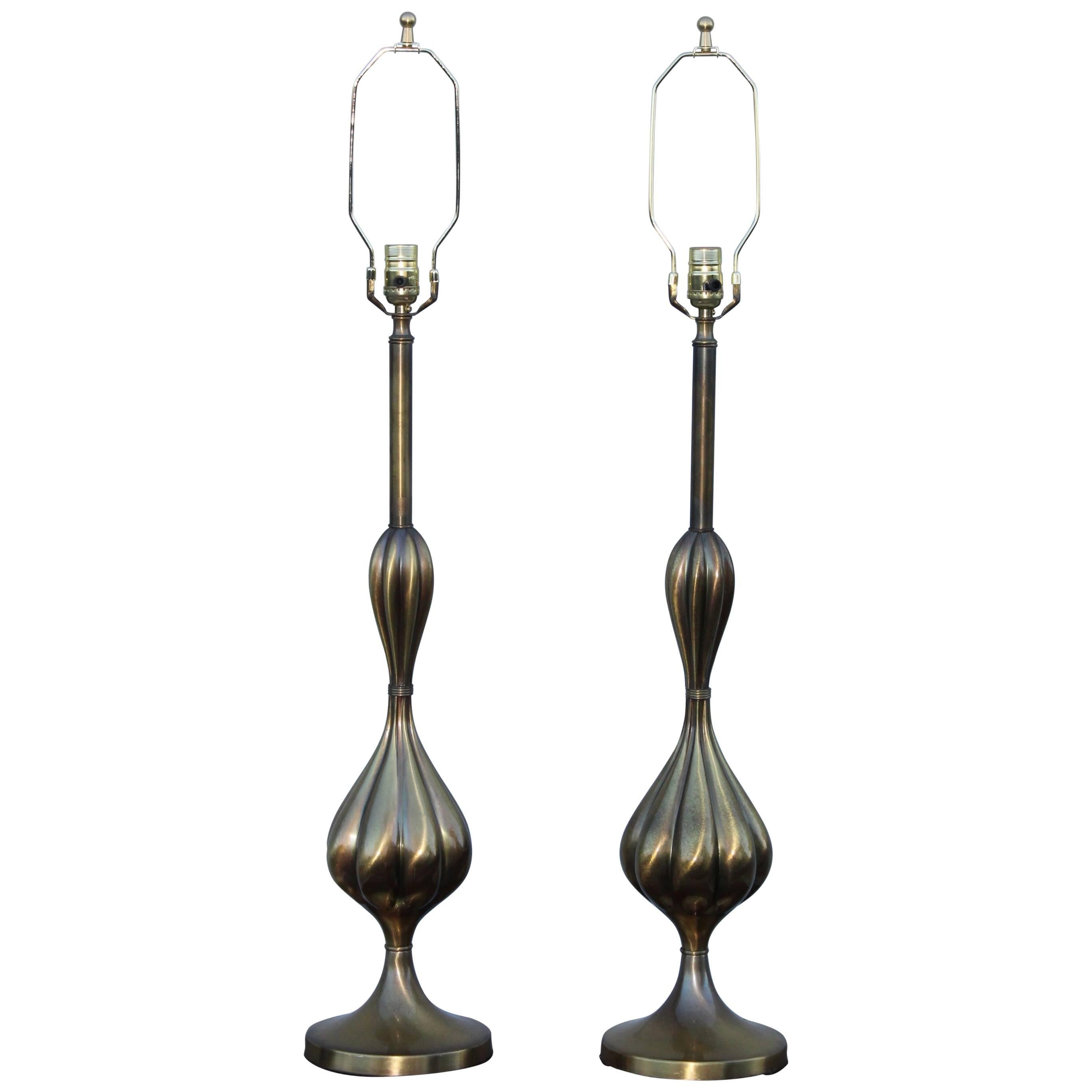 1950s Patinated Brass Stiffel Table Lamps