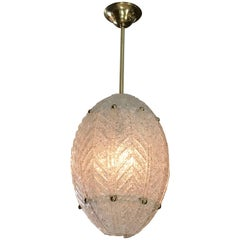Barovier Murano Glass Leaf Panel Pendant Light or Lantern