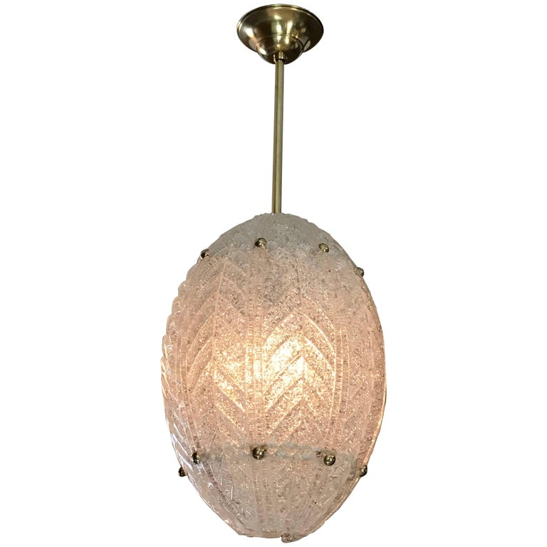 Barovier Murano Glass Leaf Panel Pendant Light or Lantern