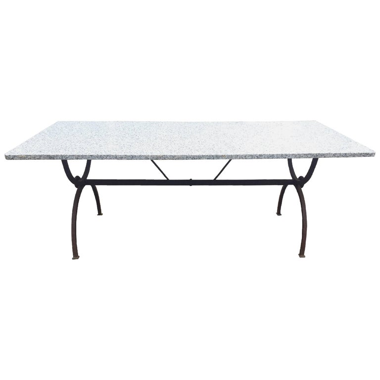 Granite and Wrought Iron Outdoor Table For Sale