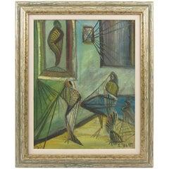 J. Blot France Mid-Century Modern Oil on Canvas Painting 1951 Spider Web