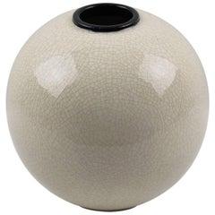 Saint-Clement France Signed Art Deco Modernist Crackle Glaze Ceramic Vase