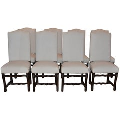Set of Eight Vintage French Os De Mouton Dining Chairs