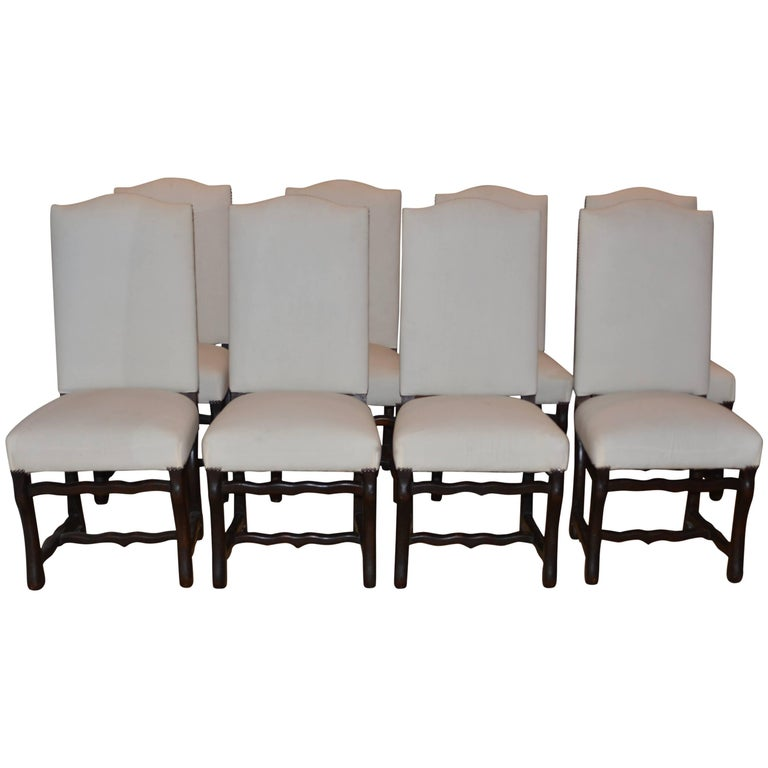 Set of Eight Vintage French Os De Mouton Dining Chairs For Sale