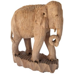Eroded Hand-Carved Elephant, Teak Wood, Late 20th Century, Northern Thailand