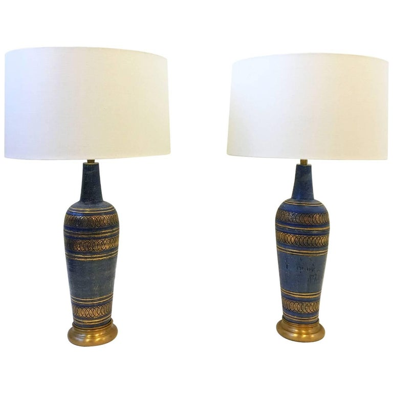 Pair of Italian Ceramic and Brass Table Lamps by Guido Bitossi for Marbro
