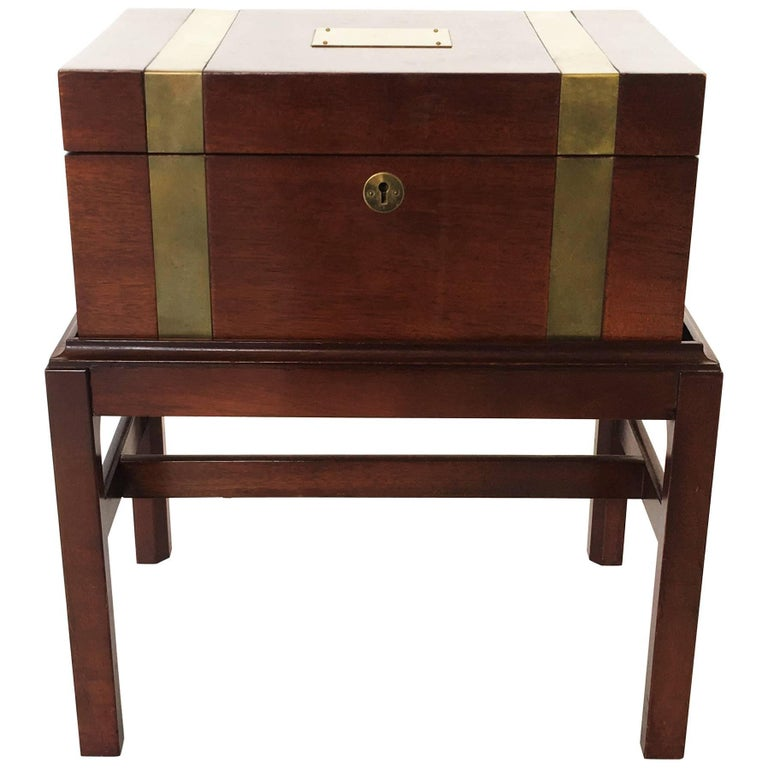 Antique Brass Inlay Campaign Style Box on Stand