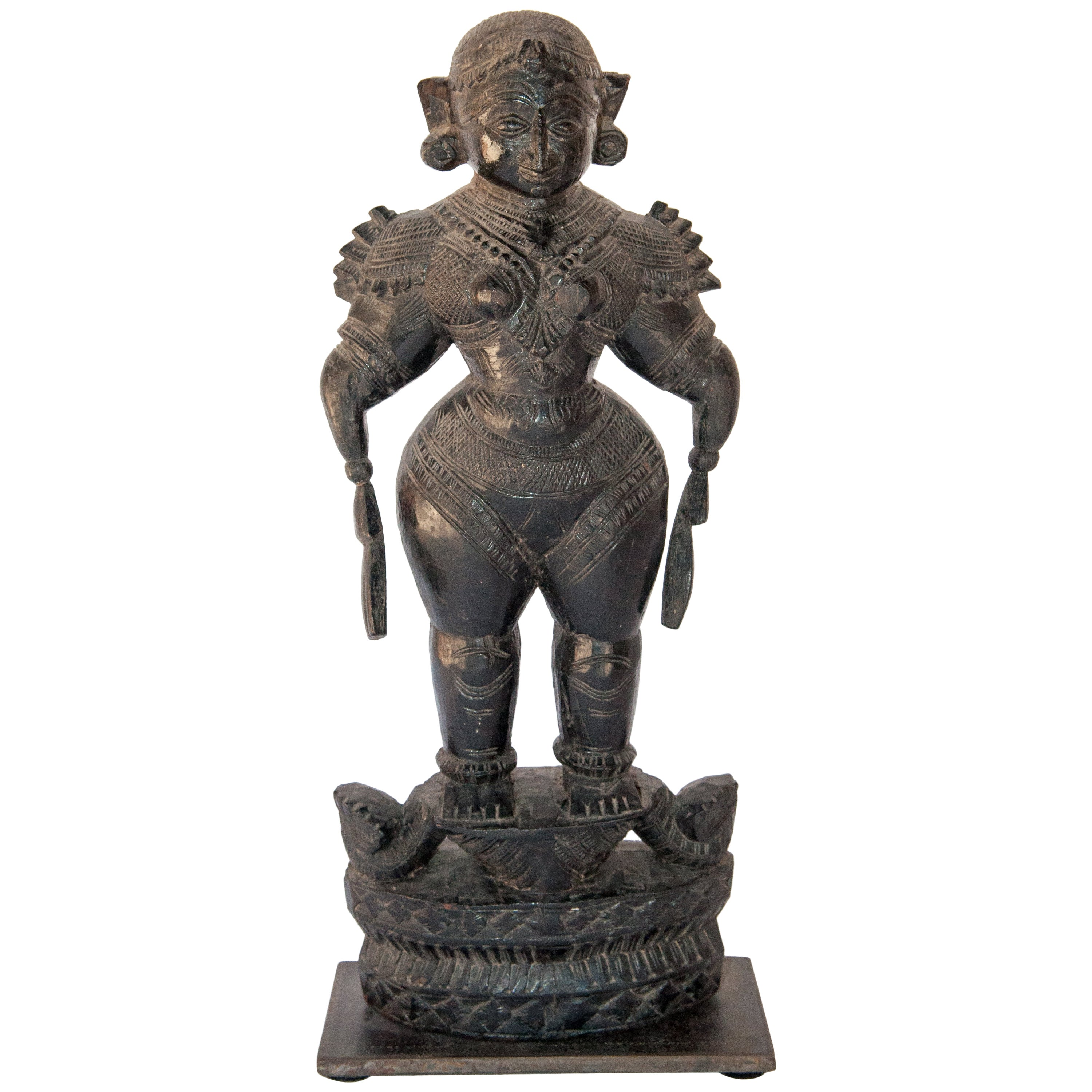 Wood Marapachi Doll from Tamil Nadu, Mid-20th Century, Hand-Carved & Blackened