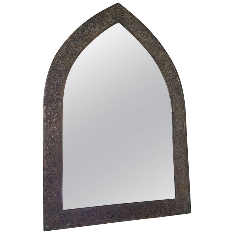 Triangular Patinated Tole Gothic Style Mirror