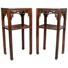 Pair of Chinese Hardwood Tall Tables