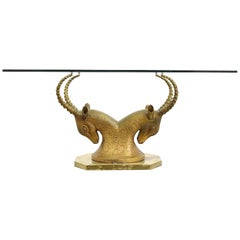 Midcentury Brass Ibex or Ram Desk or Table Base, Manner of Alain Chervet