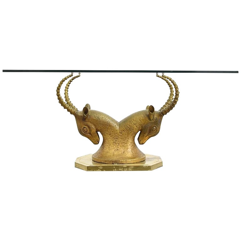 Midcentury Br Ibex Or Ram Desk Table Base Manner Of Alain Chervet For