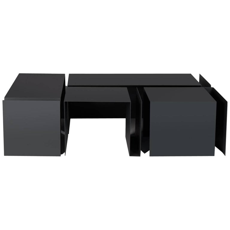 Metisse Modular Steel Coffee Table, Set of Four Tables