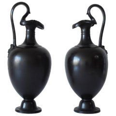 Pair of Basalt Wine Jugs, Wedgwood, circa 1871