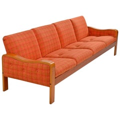 Vintage Original Danish Modern Sofa Couch - Bent Teak Plaid Wool Fabfic