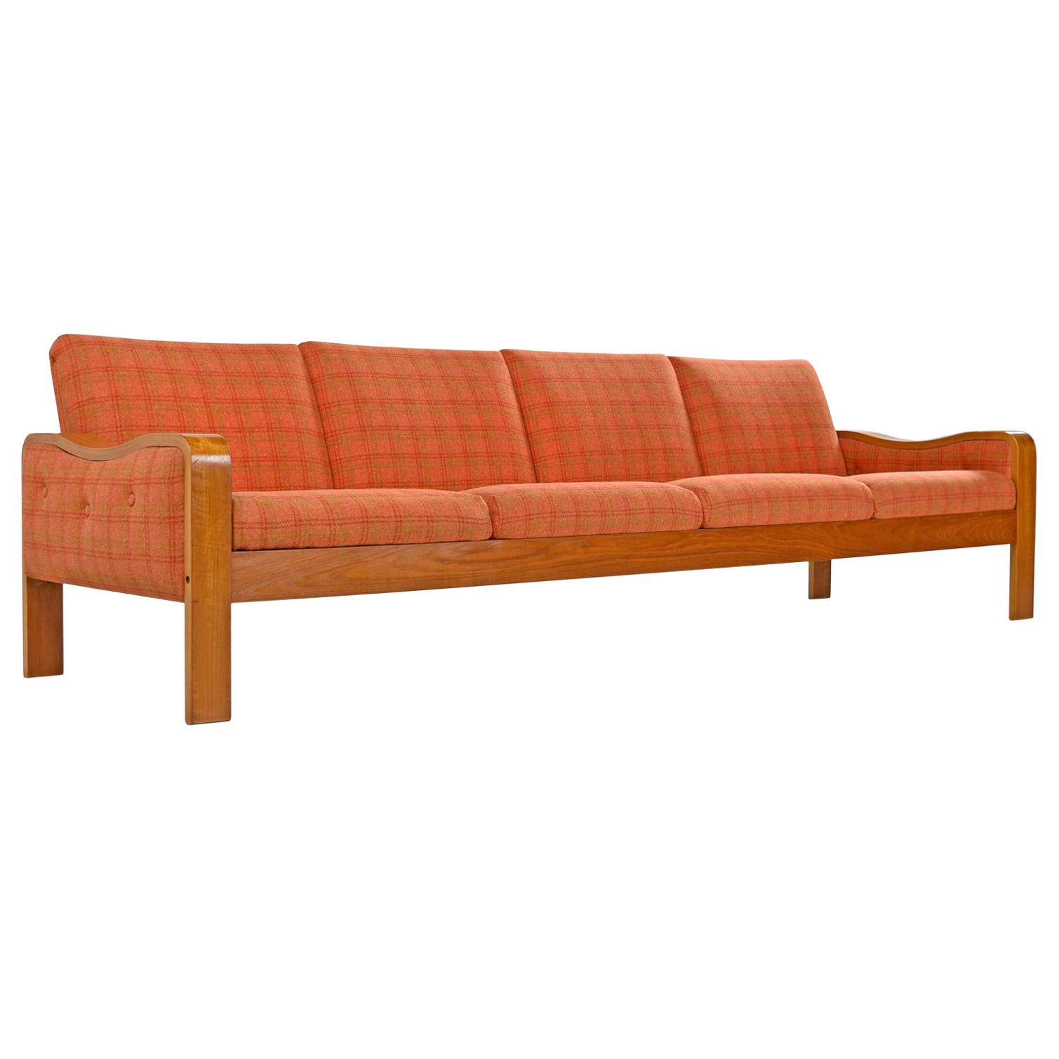 Original Midcentury Bent Teak Plaid Wool Fabric Danish Modern Sofa Couch