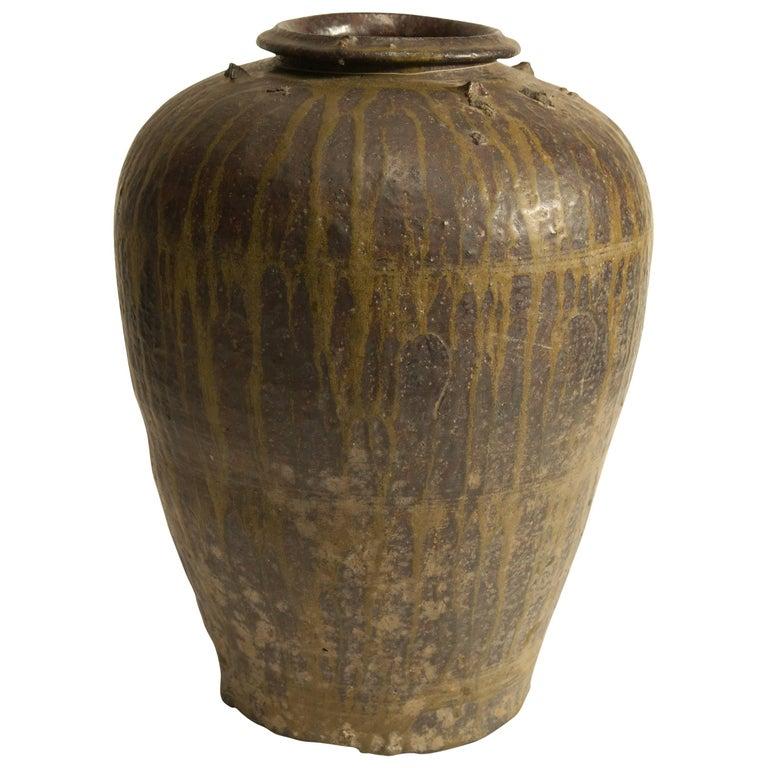 Martaban Ware Stoneware Storage Jar, Drip Glaze, Ming Dynasty, Found in Laos