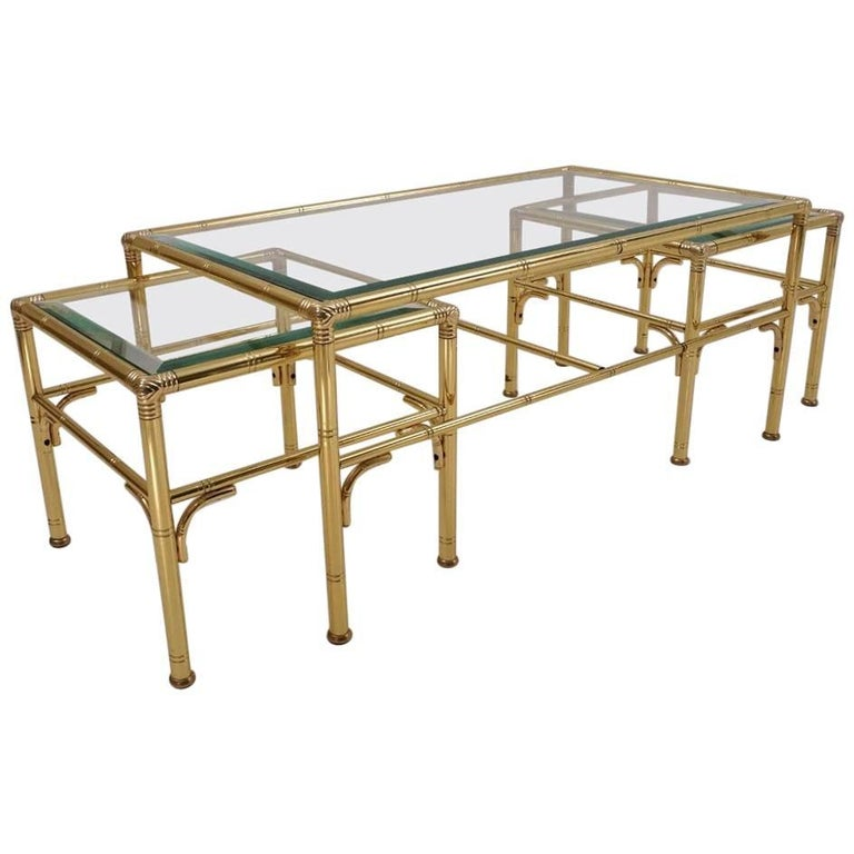 Gold Coffee Table with Two Side Tables by Chelsom, 1980s, English, Maison Bagues