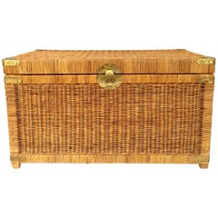 20th Century Wicker & Brass Chinoiserie Style Trunk Chest