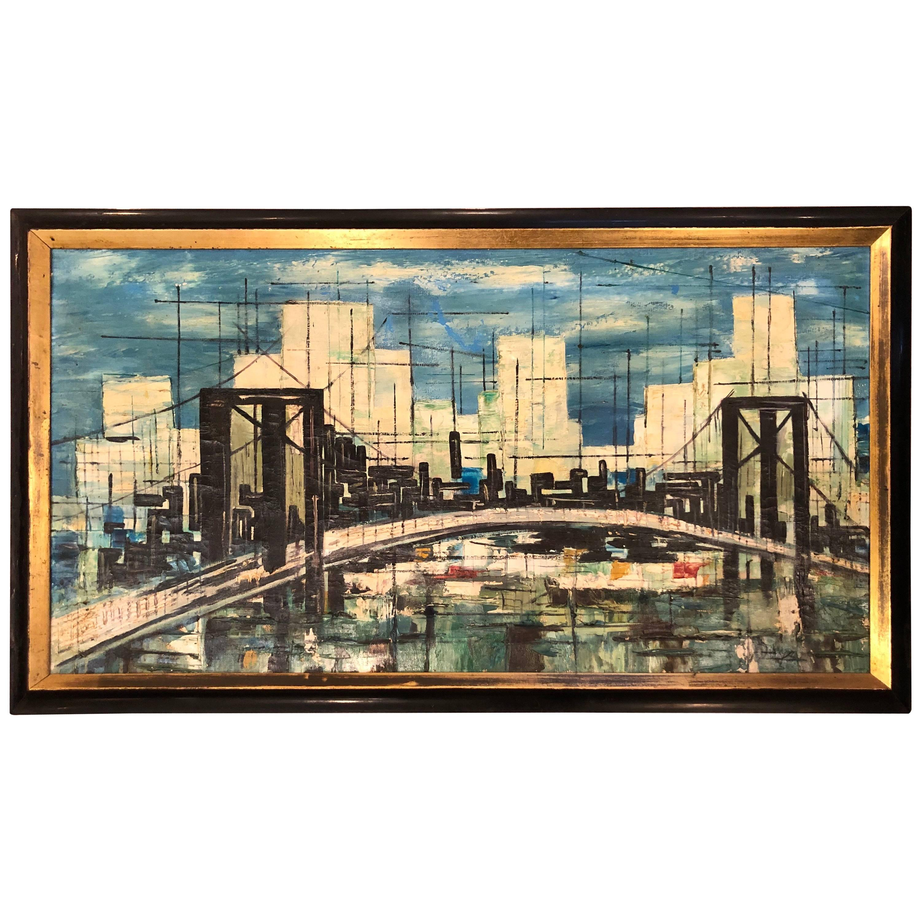 Signed Mid-Century Modern Cityscape Oil on Canvas