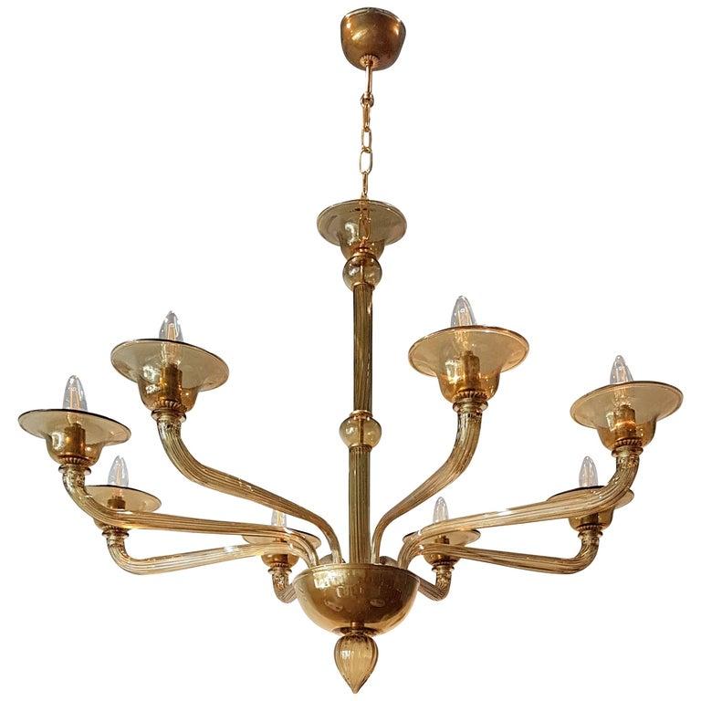 Mid-Century Modern Italian Venini Amber Murano Glass Chandelier