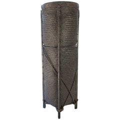 Tall Tribal Grain Storage Basket from Borneo, Mid-Late 20th Century