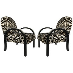 Pair of Lacquered Art Deco Armchairs in Zebra, 1940s