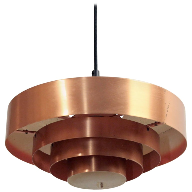 Scandinavian Ceiling Light in Copper by Jo Hammerborg, Denmark, 1950s For Sale