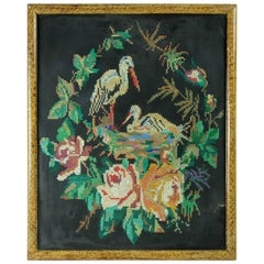 Framed Tapeserie of Two Storks, Czechoslovakia, circa 1940