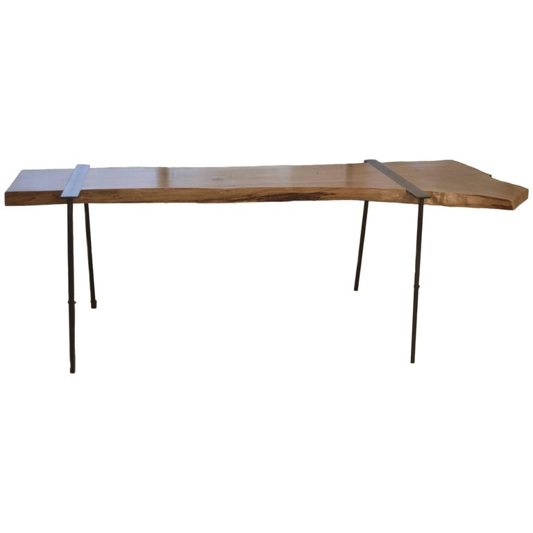 Charles Green Live Edge Wood Slab and Steel Console Table For Sale