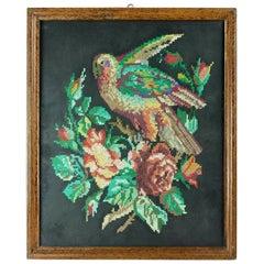 Framed Tapestry of Parrot, Czechoslovakia, circa 1940
