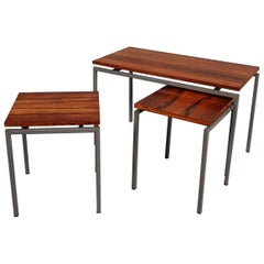 Set of Three Brazilian Rosewood Nesting Tables, circa 1950