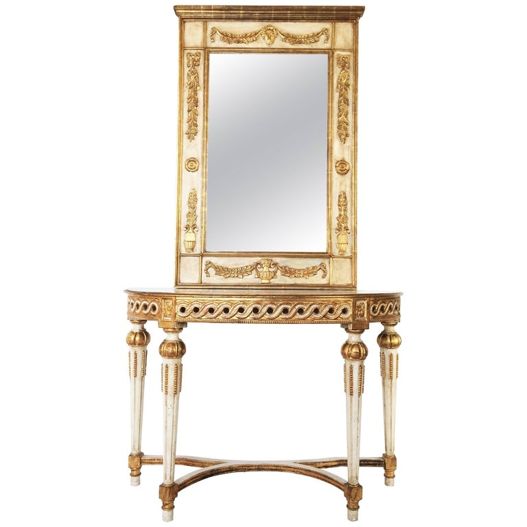 Neoclassical Italian Parcel Gilt And Mirror Over Console Table For